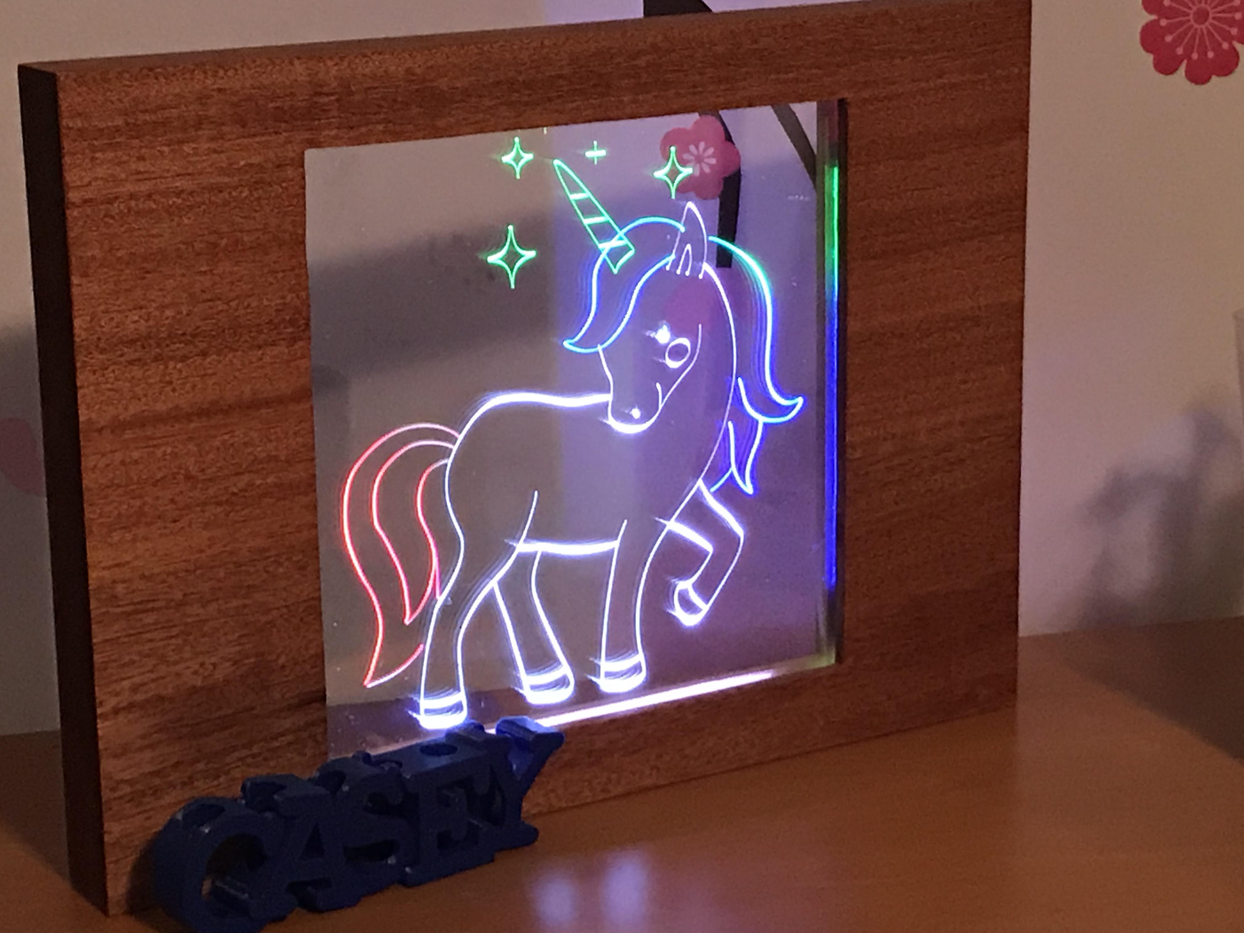 A Lit Multi-Layer Unicorn in Acrylic